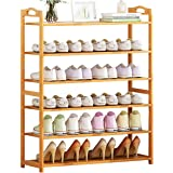 Shoes Rack Stand 6 Tier: Bamboo Shoe Shelf Free Standing Large Shoe Storage Organizer Sturdy with Portable Handle Space Savin