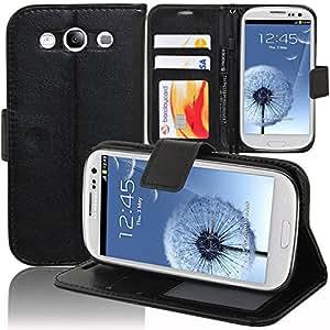 VCOMP® Samsung Galaxy S3 i9300/ i9305 Neo/ LTE 4G: Etui portefeuille cuir PU Livre rabat support vidéo - NOIR