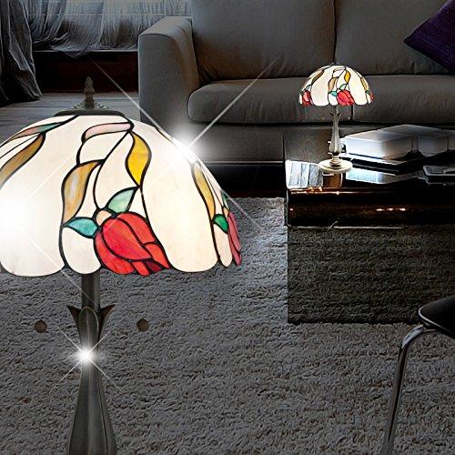 Tiffany lampada da tavolo 2luci/con 2interruttori, vetro motivo floreale di tiro, pressofuso in ottone anticato,