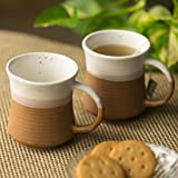ExclusiveLane Serving Tea Cups Set & Ceramic Coffee Mugs Set of 2 (290 ML, White and Mud Brown, Microwave & Dishwasher Safe)