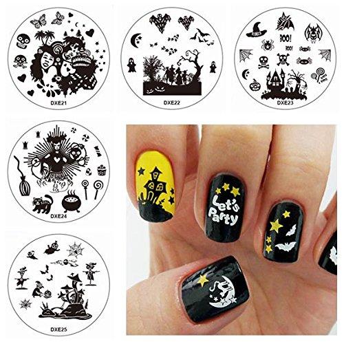 Nagel-Kunst-Diy Stempel-Satz-Monster-Schläger-Stempel-Drucken-Bild-Schablonen-Platten (Halloween-füße-kunst)