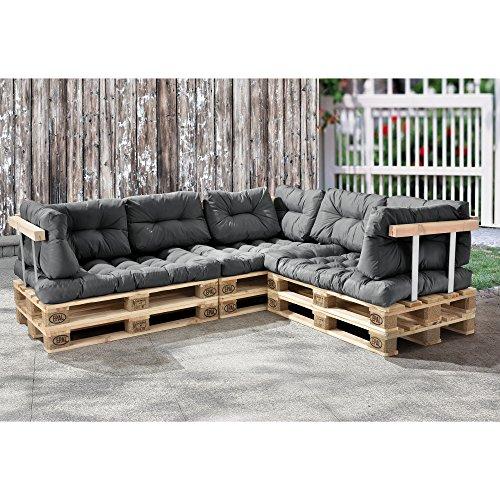 [en.casa] Palettenkissen - 11-teilig - Sitzpolster + Rückenkissen [hellgrau] Paletten-Sofa In/Outdoor - 3