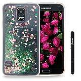 Slynmax Galaxy S5 Hülle Durchsichtig TPU Glitzer Liquid Case Silikon Schutzhülle für Samsung Galaxy S5 / S5 Neo Bumper Handyhülle Tasche Dual-Layer Treibsand Shell(Pink)