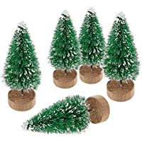 ILOVEDIY Lot de 10 Sapin de Noel Artificiel Mini Arbre de Noël Miniature Decoration Table Intérieur (Vert, Hauteur 4.5cm)