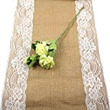 aerwo camino de mesa de arpillera de encaje Burlap yute país al aire libre decoración para boda fiesta 12por 108pulgadas