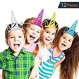 VAMEI 12St glitzende Einhornhüte für Partys Einhornparty versorgt farbige Partydekorationen für Kinder und Erwachsene