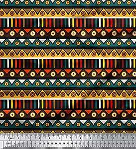 Soimoi Stampa Tribale 44 Pollici di Larghezza Moss Georgette Materiale Craft al Metro