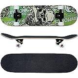 FunTomia® Skateboard mit ABEC-11 Kugellager Rollenhärte 100A und 100% 7-lagigem kanadisches Ahornholz (Grün Totenkopf)