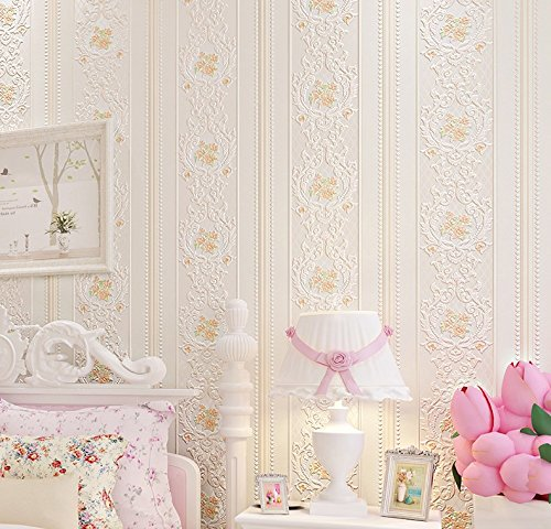 Vanme Fragancia Americana Garden Stripe Wallpaper 3D Telas Non Woven Tallado Redondo Salón Tv Fondo,Rosa Pálido