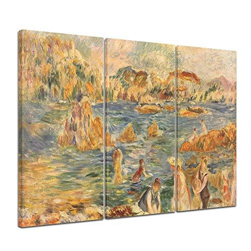 Auguste Renoir Leinwand (Wandbild Pierre-Auguste Renoir Am Strand von Guernesey - 150x90cm mehrteilig quer - Alte Meister Berühmte Gemälde Leinwandbild Kunstdruck Bild auf Leinwand)