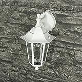 Außenlampe Wandleuchte Paris in matt-weiß/grau / hängend mit E27-Fassung bis 60W 230V / Beleuchtung für Hof und Garten