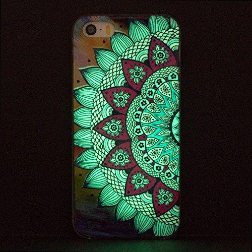 Cover iphone 5 Custodia iphone 5s / se Silicone Anfire Morbido Flessibile Gel TPU Case per apple iphone 5/5s/se (4.0 pollici) Ultra Sottile Fluorescente Shell Antiurto Luminosa al Buio Copertura LED L Metà Fiore Blu