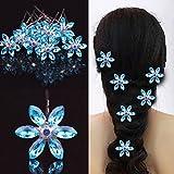 Musuntas 10 Stk. wunderschöne Haarnadeln Blauer Stern Perle Strass Hochzeit Brautschmuck Braut Haarschmuck Haarklammer für Mädchen