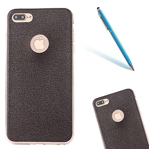 Clear Crystal Rubber Protettivo Case Skin per Apple iPhone 7Plus 5.5(NON iPhone 7 4.7), CLTPY Moda Brillantini Glitter Sparkle Lustro Progettare Protezione Ultra Sottile Leggero Cover per iPhone 7Pl Black