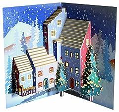 Idea Regalo - Forever, cartolina di Natale realizzato a mano, pop-up, POP110, con alberi di Natale, tagliata a laser