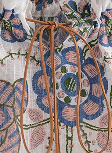 Azbro Women's Slash Neck Floral Printed Elastic Blouse blue