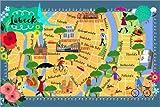 Poster 91 x 61 cm: Bunter Stadtplan Lübeck von Elisandra