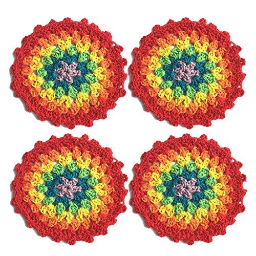 """Ambielly Piccolo Crochet rotonda pizzo di cotone Tovagliette sottobicchieri centrini per la Coppa / vetro, 4pcs / Pack (10cm / 3.9 """", rosso)"""