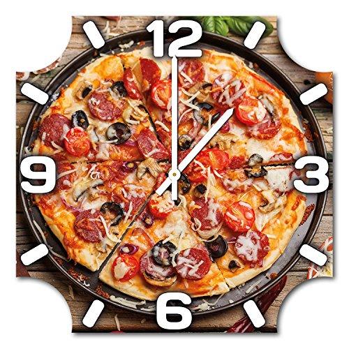 pizza-design-wanduhr-aus-alu-dibond-zum-aufhangen-48-cm-durchmesser-schmale-zeiger-schone-und-modern