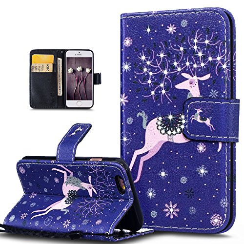 Custodia iPhone 6 Plus, iPhone 6S Plus Cover, ikasus® iPhone 6 Plus/iPhone 6S Plus Custodia Cover [PU Leather] [Shock-Absorption] Colorato verniciato con Bling Brillante scintillante Gitter Strass Pro Cervo di fiocco di neve