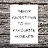 Divertente AF Cards lusso A5 martello di Merry Christmas To my Favourite Husband palline/fiocchi font