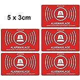 5 Stück Aufkleber Alarmanlage, alarmgesichert, 5 x 3cm Aufkleberset Art. 047_5er außen