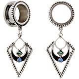 """KUBOOZ popolare ciondolo gioielli pendenti opali in acciaio inox flare tappi per le orecchie tunnel calibri 2g a 3/4"""""""