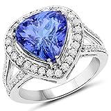 Ring 14 Karat (585) Weißgold 6,06 Karat Tansanit Diamant Weiß