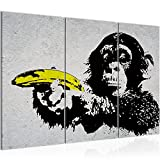 Bilder Affe mit Bannane Pistole Banksy Street Art Wandbild 120 x 80 cm - 3 Teilig Vlies - Leinwand Bild XXL Format Wandbilder Wohnzimmer Wohnung Deko Kunstdrucke Grau -100% MADE IN GERMANY - Fertig zum Aufhängen 302831a