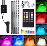 Automotive LED Decor Streifen Licht, 72 SMD DV 12 V Auto Mehrfarbig Musik LED Innenraumbeleuchtung, Auto dekorative Lichter, mit Klangaktivierung und Fernbedienung, KFZ-Ladegerät enthalten