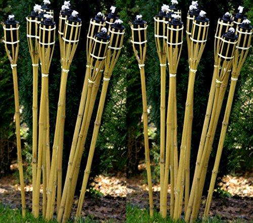 24 Stück Gartenfackel Bambusfackel 90 cm Naturfarbe aus Bambus inkl. Docht + Tank für draussen/ Garten Lampe Öllampe STAR-LINE®