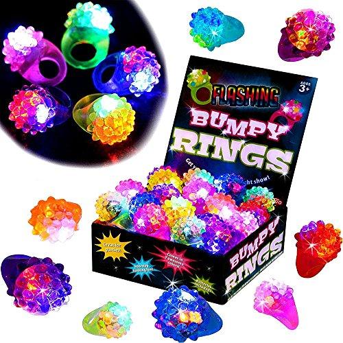 German Trendseller 6 x Jelly Leucht Ringe ┃ LED ┃ Blinklicht ┃ Flummi Ringe ┃ Kindergeburtstag ┃ 6 Stück