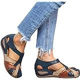 Minetom Sandali da Donna Piatto Scarpe Estive Sandali Spiaggia Vuoto E Traspirante Ciabatte Moda Chiuse Davanti Sandali Sport