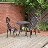 Traditional Cast Aluminium Cafe Bistro Outdoor Garden Furniture Table & Chairs Set - Bronze