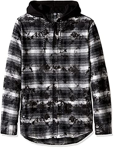 neff Men's Thomas Long Sleeve Flannel Button up, Grey,