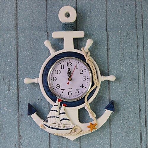 FLAMEER Mediterraner Stil Wanduhr Steuerrad Holz Uhr Wandekoration - Schiff, 23 x 2 x 33 cm (Schiffe, Uhren)
