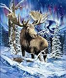 YISUMEI Decke 150x200 cm Kuscheldecken Sanft Flanell Weich Fleecedecke Alaska Elch