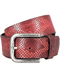 Pierre Cardin Mens leather belt / Mens belt, full grain leather belt with embossing, red
