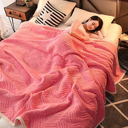 Preisvergleich Produktbild Max Home Super Soft Thicken 3-Lagen Decke für Einzel- / Doppelbett Coral Fleece Sommerdecke Pink (größe : 200cmX230cm)