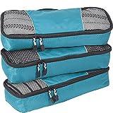 eBags Cubes de voyage - Sacs de rangement bagages slim - lot de 3 (Bleu vert)
