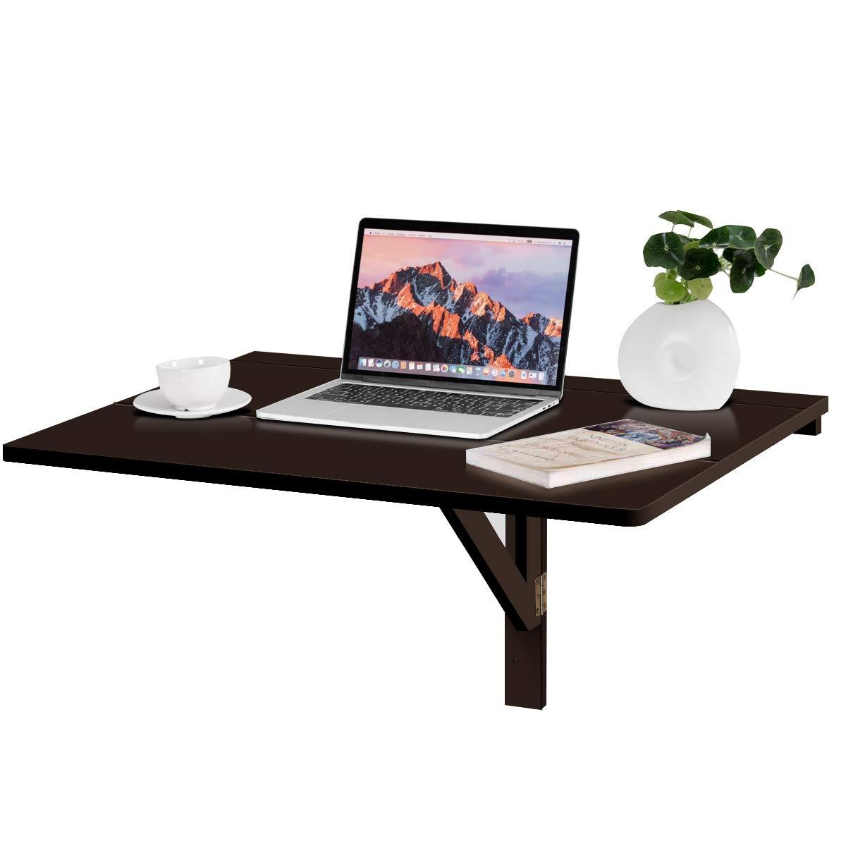 COSTWAY Wandtisch klappbar, Wandklapptisch weiß, 80x60cm, Klapptisch aus Holz (Braun) 1