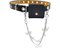 PALAY® Grommet Wasit Belt PU Leather Punk Belt Buckle for Women Jeans Pants Halloween Belt with detachable chain
