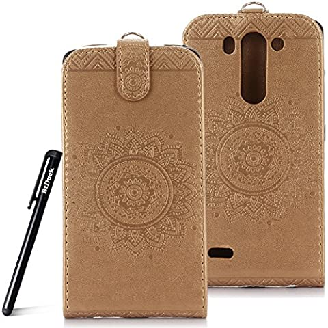 Case for LG G3S wallet Embossed Flowers case,LG G3 Mini Ceramic pattern flip cover,BtDuck protective case Earthly gold shell Retro Buddhism Solid color special Chinese Style skin Case for Open vertically Holster Full-body protection machine Totem Anti-scratch Shock Resistant Strong magnetic buckle Magnet Closure [with Lanyard Strap / Rope] Credit Card/Cash Holder Slot - Tuhao Gold angel's trumpet