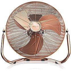 Brandson 120 W Ventilateur en Design rétro | 45 cm de diamètre | Trois Vitesses Low - Medium - High | débit d'air élevé | tête du Ventilateur réglable | métal Solide | cuivre