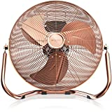Brandson 120 W Ventilateur en Design rétro/Chrome | 45 cm de diamètre | Trois Vitesses Low - Medium - High | débit d'air élevé | tête du Ventilateur réglable | métal Solide | cuivre
