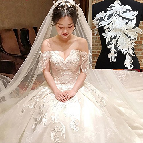 usjee Stickerei Spitze Patches für Hochzeit Kleid Applikation Halsband Decor Style#3 Off-White Bridal Lace Applique