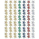 Sticker Auswahl Sterne Smileys Bienen Glitzer Belohnungssticker Aufkleber verschiedene Motive (98 bunte Glitzersterne 11mm)