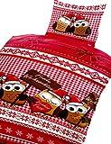 Leonado Vicenti 4 tlg. / 2x2 tlg. Bettwäsche Thermofleece 135x200 cm Eulen Weihnachten in rot weiß aus Microfaser Set mit Reißverschluss