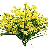 Never ending Künstliche künstliche Blumen, 4 Bündel für den Außenbereich, UV-beständig, Sträucher, Pflanzen drinnen und draußen, hängend, für den Garten gelb