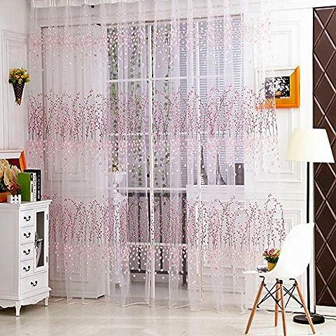 omiky® 1fenêtre rideau voilage, 100,1x 270cm Polyester Rideau de porte de balcon avec motif Peach Blossom, Polyester, rose, 100cm*270cm/39.4*106.3